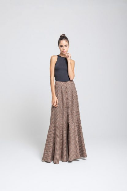 Flared skirt Pied de Poule Brown