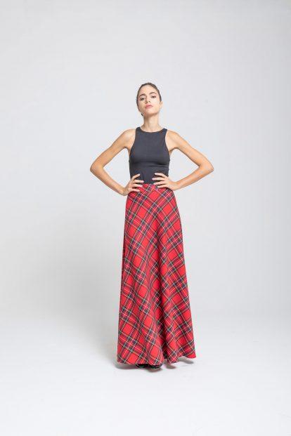 Flared skirt Red tartan
