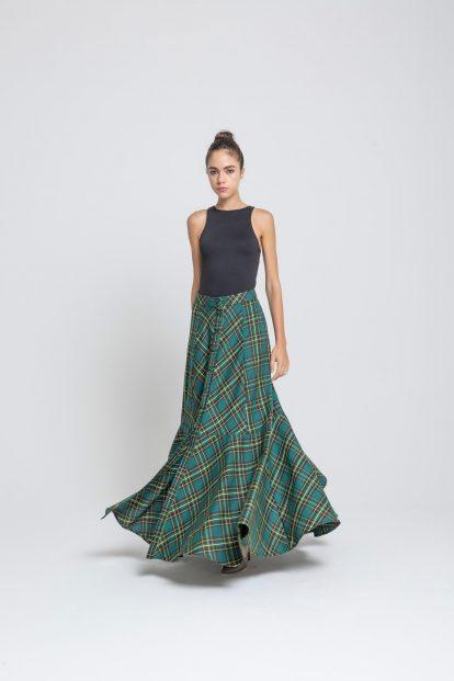 Flared skirt Green tartan