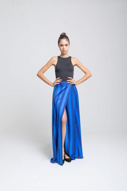 Wrap skirt – stripes print - blue / light blue