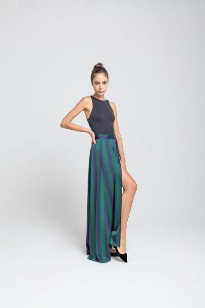 Wrap skirt – stripes print - blue / green