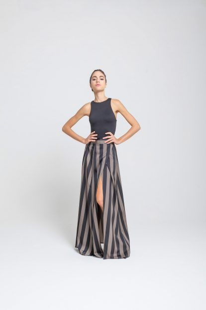 Wrap skirt – stripes print - black / military green