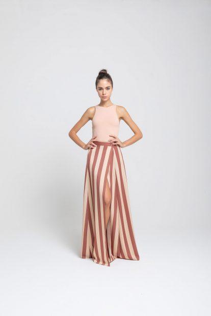Wrap skirt – stripes print - white cream / brick red