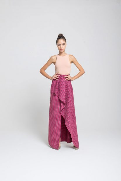 Wrap skirt - Fuchsia pied de poule