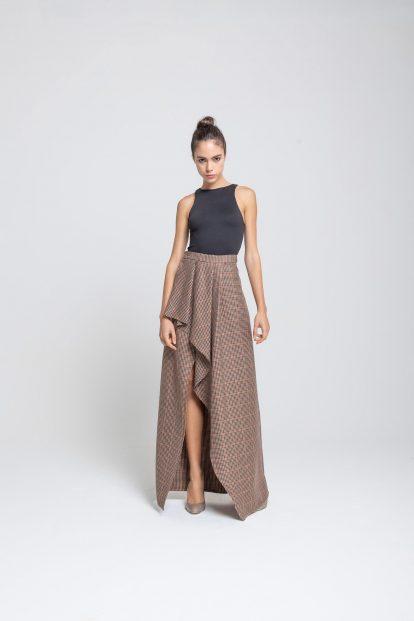 Wrap skirt - Brown pied de poule