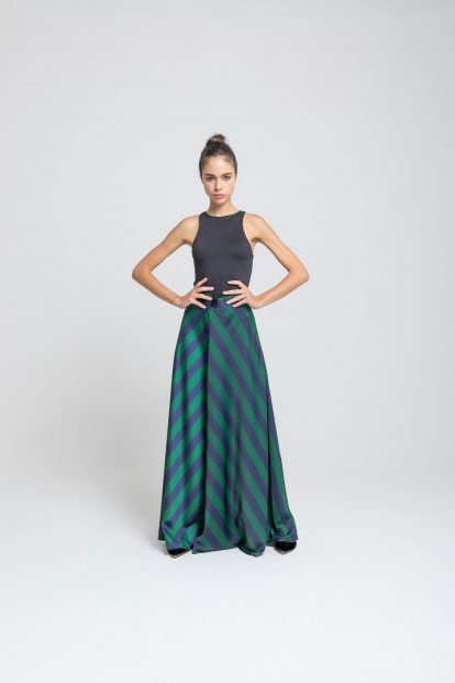 Flared skirt – stripes print blue/green