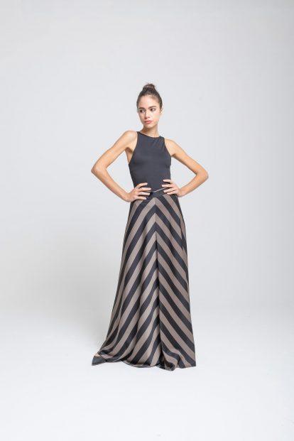 Flared skirt – stripes print black/military green
