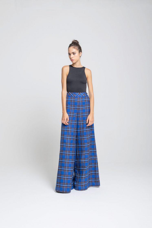 Poupine - pantalone bluette tartan