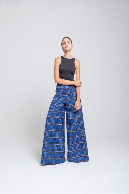 Trousers - Light Blue tartan
