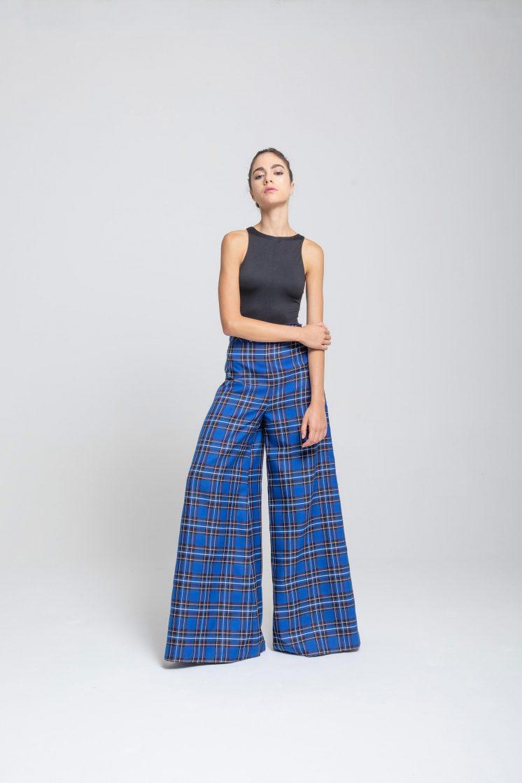 Poupine - blu tartan pantalone