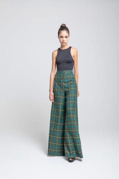 Trousers - Green tartan