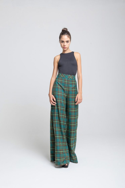 Poupine - tartan green pants