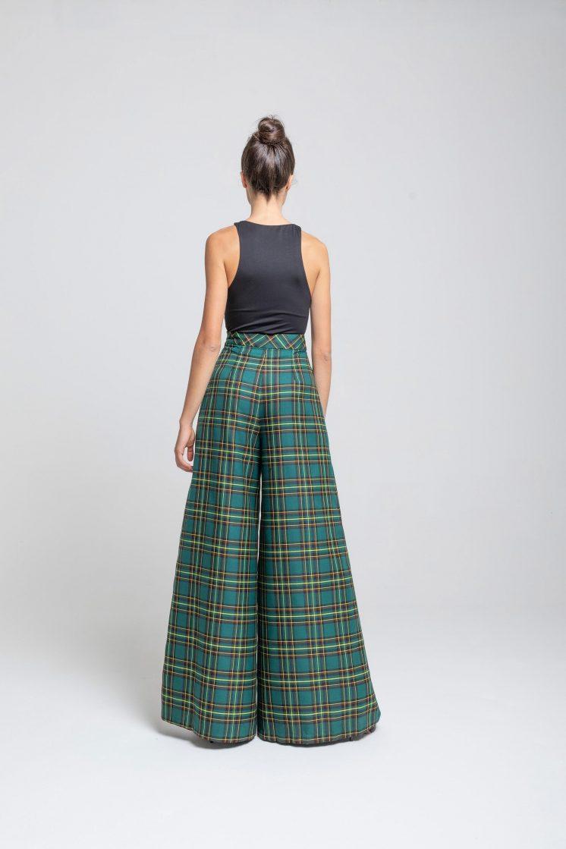 Poupine - pantalone tartan verde