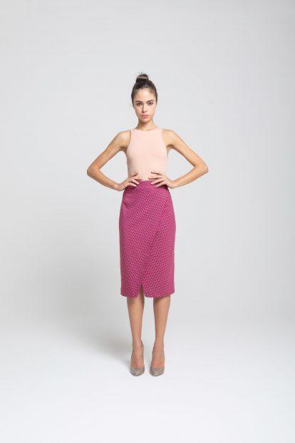 Pencil Skirt - Fuchsia pied de poule