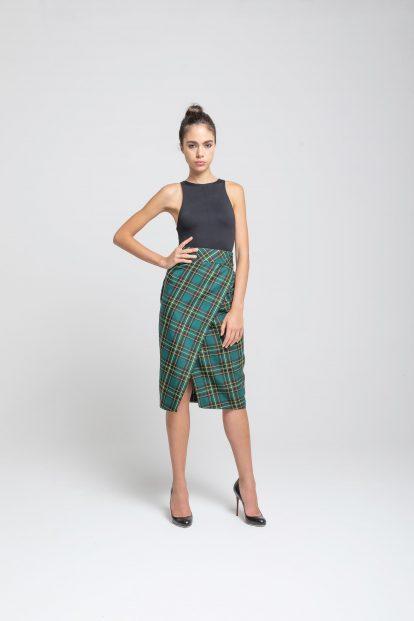 Pencil Skirt - Green tartan